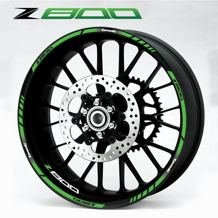 Green Kawasaki Wheel Stripes Decals