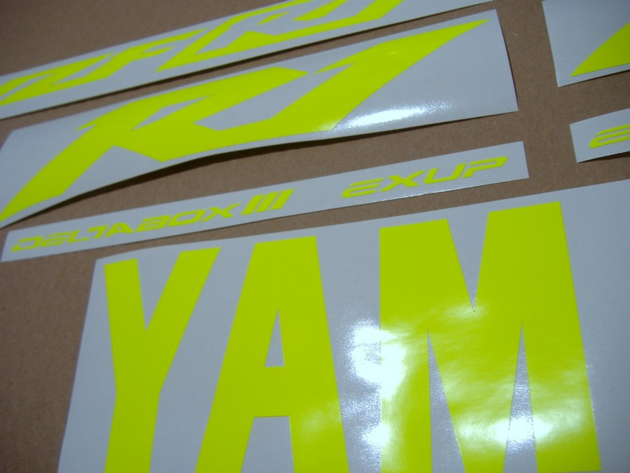 R1 2002-2003 neon fluorescent yellow decals stickers graphics RN09 5pw signal