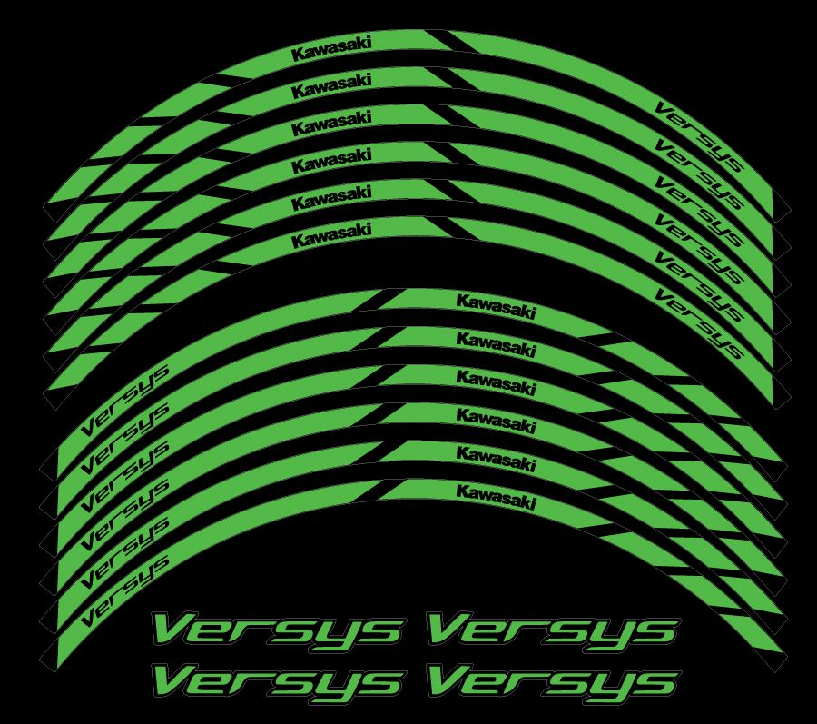 Kawasaki Versys 650 1000 2007 2008 Wheel Stripes Decals Stickers Set