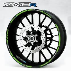 Kawasaki ZX-6R Ninja green rim lines sticker set