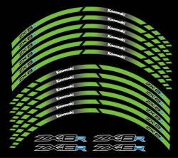 Kawasaki ZX6R Ninja green wheel stripes decals