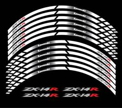 Kawasaki ZX-14 wheel rim stripes decals white