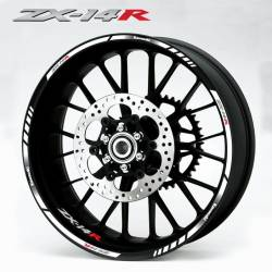Kawasaki ZX-14 Ninja wheel rim stripes and decals set in white