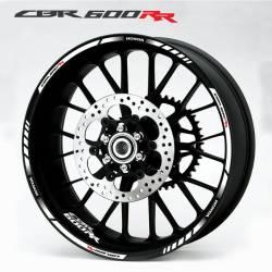 Honda CBR 600RR white 17-inch wheel stripes set