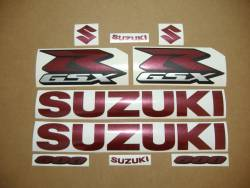 Suzuki GSX-R 600 custom pearl burgundy logo decals