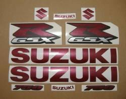 Suzuki GSX-R 750 custom wine red stickers set