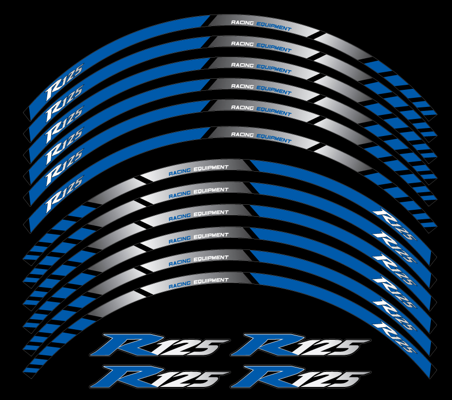 Yamaha Yzf R125 Wheel Stripes Greyblue