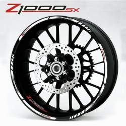 Kawasaki Z1000sx rim stripes stickers white