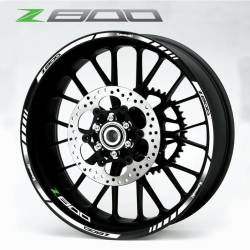 Kawasaki Z 800 white rim stripes decals set