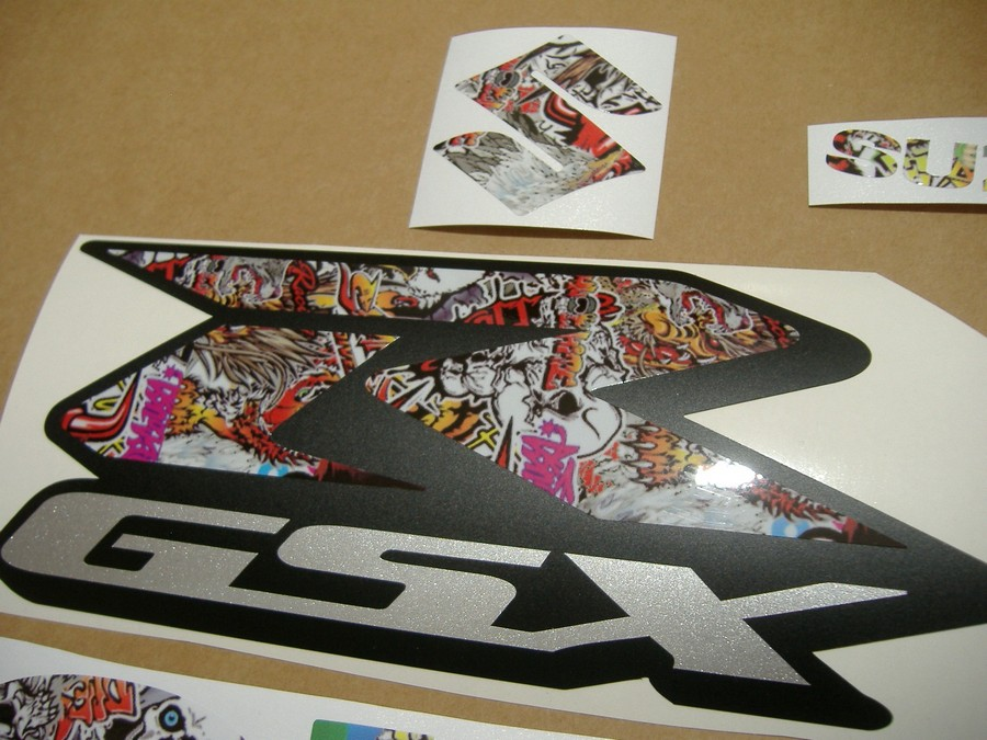 suzuki gsxr 600 sticker bomb graffiti look logo decal. Black Bedroom Furniture Sets. Home Design Ideas