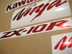 Kawasaki ZX10R chrome burgundy logos decals