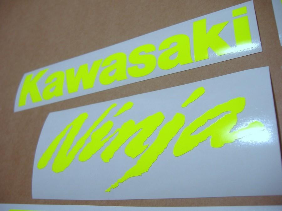 Kawasaki Zx R Ninja Fluorecent Yellow Adhesives on Kawasaki Zx6r