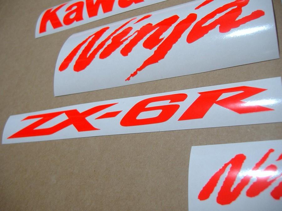 Kawasaki ZX6R ninja custom neon (signal) red decal/sticker set - Moto-Sticker.com