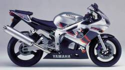 Yamaha R6 1999 RJ03 silver labels graphics