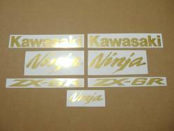 Kawasaki ZX6R brushed gold emblems decal set