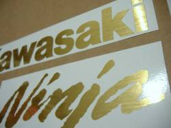 Kawasaki ZX6R brushed golden logos decals