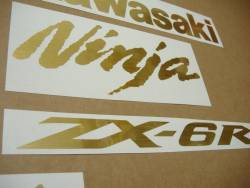 Kawasaki ZX-6R Ninja brushed gold decals kit