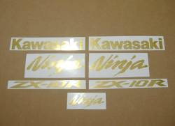 Kawasaki ZX10R brushed gold emblems decal set