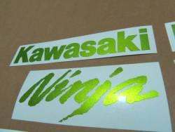 Kawasaki ZX10R metallic green emblems stickers