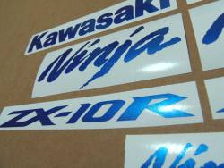 Kawasaki ZX10R metallic blue decal set