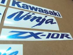 Kawasaki ZX10R metallic blue customized logo decals