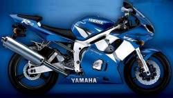Yamaha R6 2002 RJ03 blue stickers set
