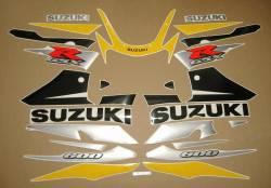 Suzuki GSXR 600 2002 2003 yellow black decal kit