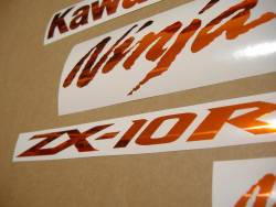 Kawasaki ZX10R 1000 chrome orange stickers kit