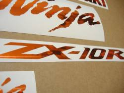 Kawasaki ZX-10R Ninja shiny orange stickers emblems