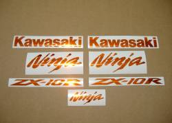 Kawasaki ZX10R 1000 chrome orange decals set