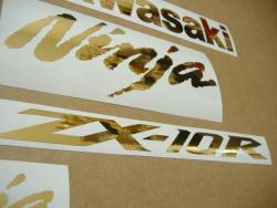 Kawasaki ZX10R 1000 Ninja golden chrome logo emblems