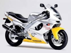 Yamaha YZF 600R 1996 yellow silver logo graphics