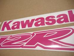Kawasaki ZX-12R Ninja hot pink emblems logo set