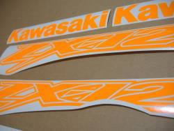 Kawasaki ZX-12R Ninja fluorescent orange stickers set