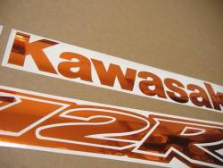 Kawasaki ZX-12R Ninja custom mirror orange decal set