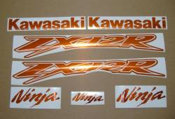 Kawasaki ZX-12R Ninja mirrored chrome orange decals