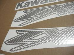 Kawasaki ZX-12R Ninja silver carbon fiber logo graphics