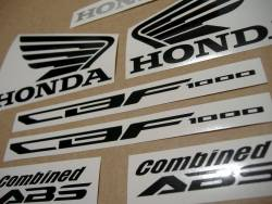 Honda CBF 1000 2010-2011 white logo graphics set