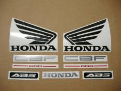 Honda CBF600 2006 silver replacement decals kit