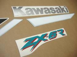 Kawasaki ZX-6R Ninja 2000 J1 silver replica decals kit