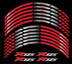 Wheel stipes and rim decals for Yamaha R125 red