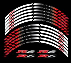 Yamaha R5 white-red aftermarket wheel stripes sticker set