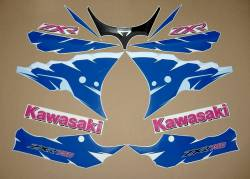 Kawasaki ZXR 750R Ninja 1994 green/white/blue reproduction stickers