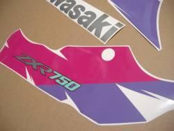 Kawasaki ZXR 750R 1995 black/pink replacement sticker set