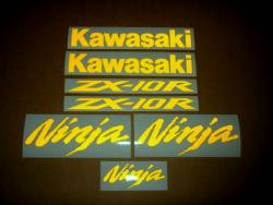 Kawasaki Ninja ZX10R custom reflective yellow stickers