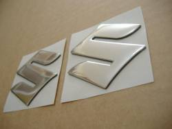 Suzuki 3D raised chrome S logo emblems decals