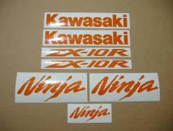 Kawasaki ZX-10R Ninja orange reflective stickers set