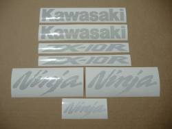 Kawasaki ZX-10R 1000 custom light reflective white stickers set