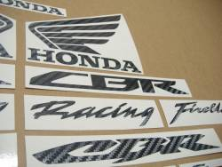 Honda CBR Fireblade RR carbon logo stickers emblems set