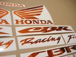 Honda CBR 600/1000 RR chrome orange logo stickers set